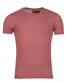 t shirt homme moulant rouge chiné col rond fashion