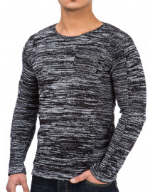 Pull slim fit homme noir col rond fashion
