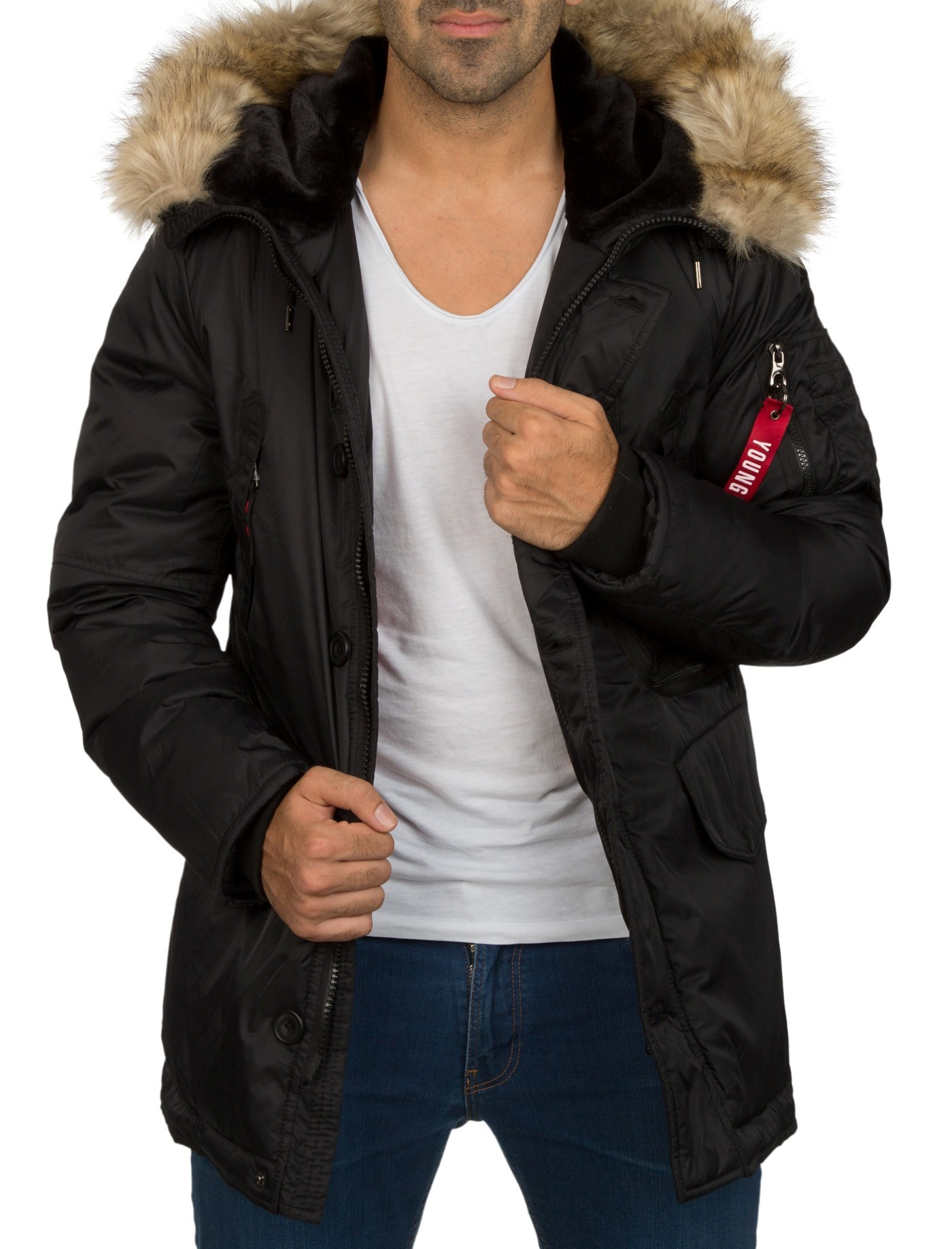 parka bombers homme noire capuche en fourrure. Black Bedroom Furniture Sets. Home Design Ideas